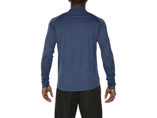 ASICS STRIPE LONG-SLEEVED HALF-ZIP TOP POSEIDON HEATHER 11