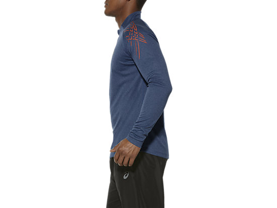 ASICS STRIPE LONG-SLEEVED HALF-ZIP TOP POSEIDON HEATHER 7