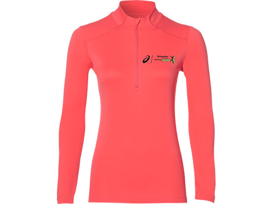 LONG-SLEEVED 1/2 ZIP TOP, CORALICIOUS