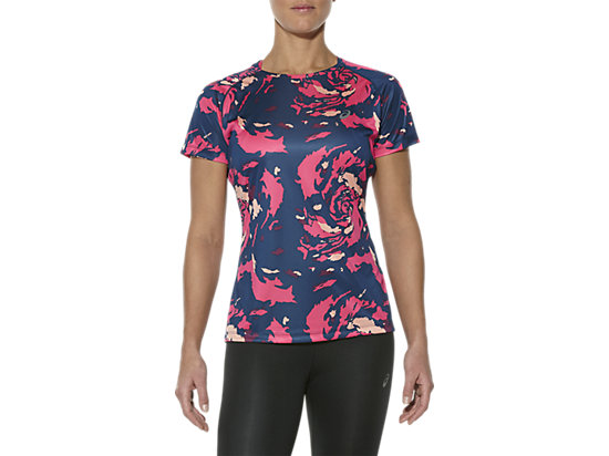 FUJITRAIL GRAPHIC SHORT SLEEVE TOP, Okinawa Camelion Rose