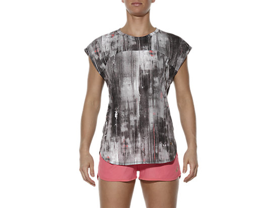TOP MET KORTE MOUWEN BLK/WH VERSION ABSTRACT PRINT 7