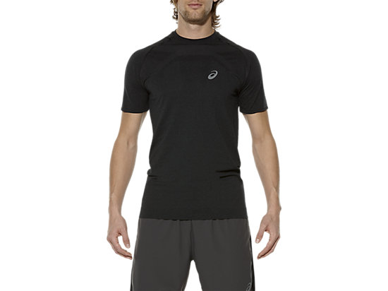 SHORT SLEEVED SEAMLESS TOP, Performance Black