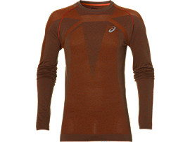 SEAMLESS LS, Dark Grey/Red Clay