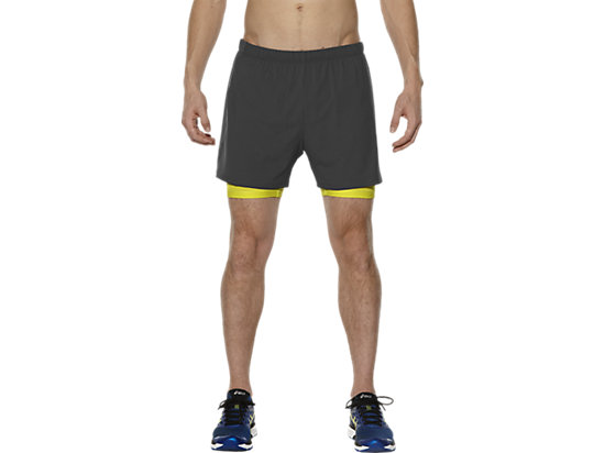 2-IN-1 5-INCH RUNNING SHORTS, Dark Grey/Sulphur Spring