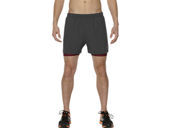 2-IN-1 5 INCH HARDLOOPSHORT, Dark Grey/Pomegranate