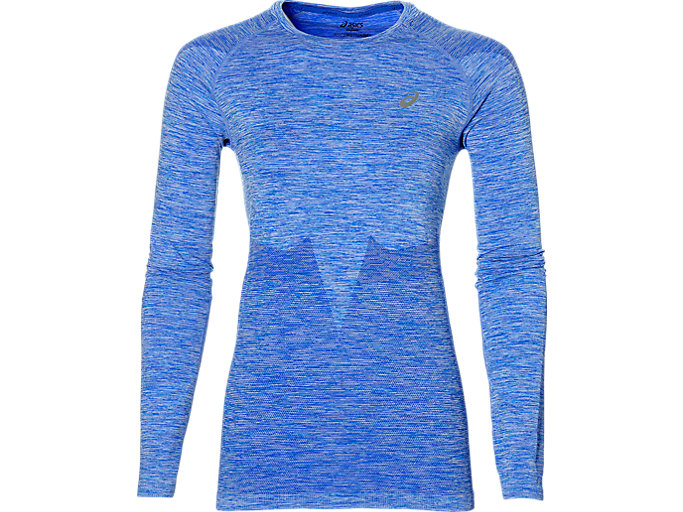 Front Top view of SEAMLESS LS, BLUE PURPLE