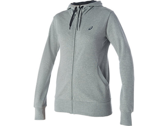 FULL ZIP KNIT HOODIE, Heather Grey