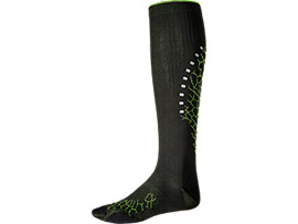 Front Top view of LB COMPRESSION SOCK, PERFORMANCE BLACK/SULPHUR SPRING