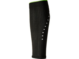 Front Top view of LB COMPRESSION CALF SLEEVE, PERFORMANCE BLACK/SULPHUR SPRING