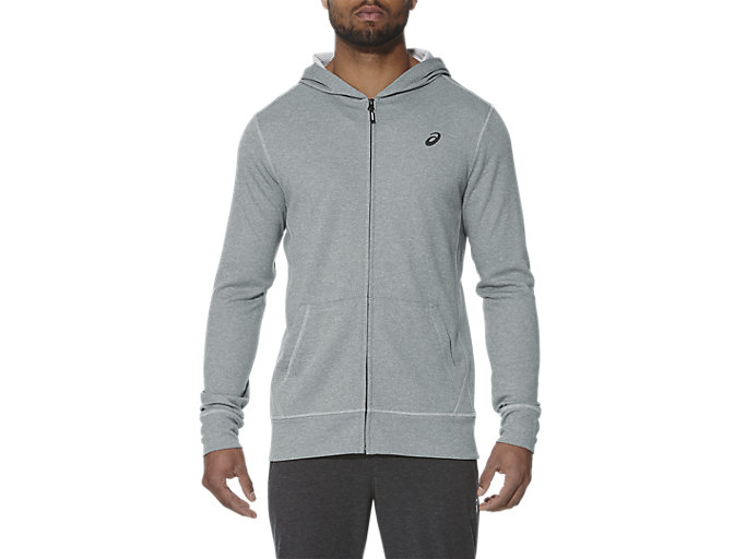 Front Top view of TECH FZ HOODY, MID GREY HEATHER