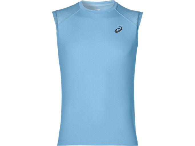 Front Top view of LITE-SHOW SLEEVELESS, POWDER BLUE