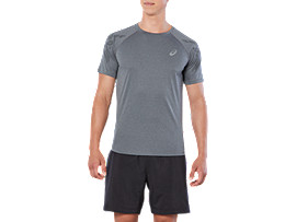 ASICS STRIPE SS TOP, Dark Grey Heather/Performance Black