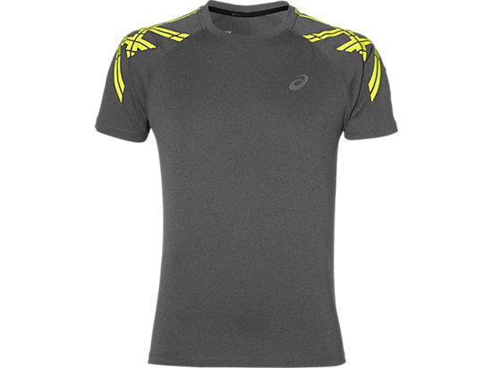 ASICS STRIPE SS TOP DARK GREY HEATHER 3