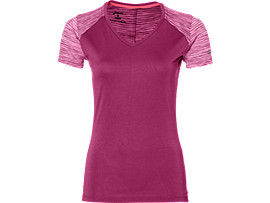 Front Top view of fuzeX V-NECK SS TOP, PRUNE