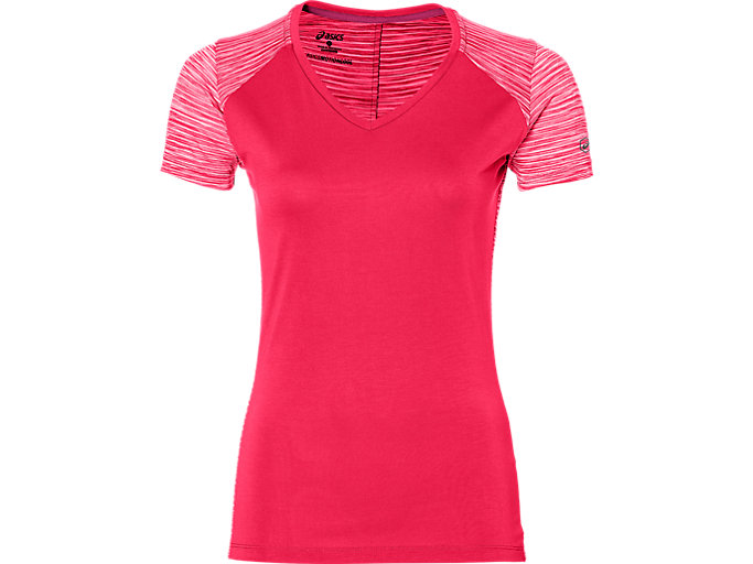 Front Top view of fuzeX V-NECK SS TOP, COSMO PINK