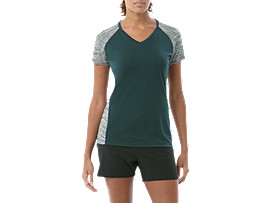 fuzeX V-NECK SS TOP, HAMPTON GREEN