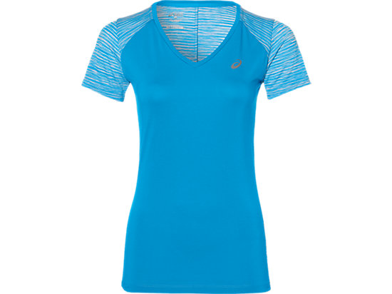 Camiseta de running fuzeX con cuello de pico para mujer, Diva Blue