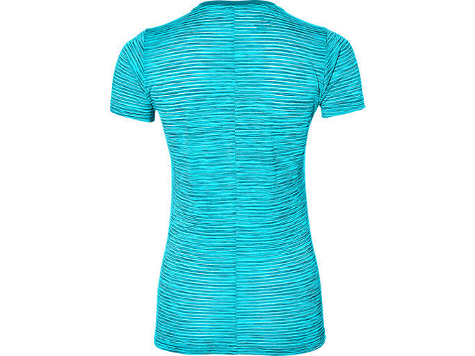 Back view of Camiseta de running fuzeX con cuello de pico para mujer, ARCTIC AQUA