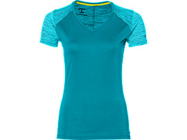 Front Top view of fuzeX V-NECK SS TOP, ARCTIC AQUA