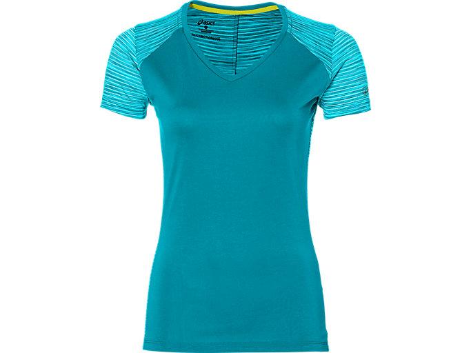 Front Top view of Camiseta de running fuzeX con cuello de pico para mujer, ARCTIC AQUA