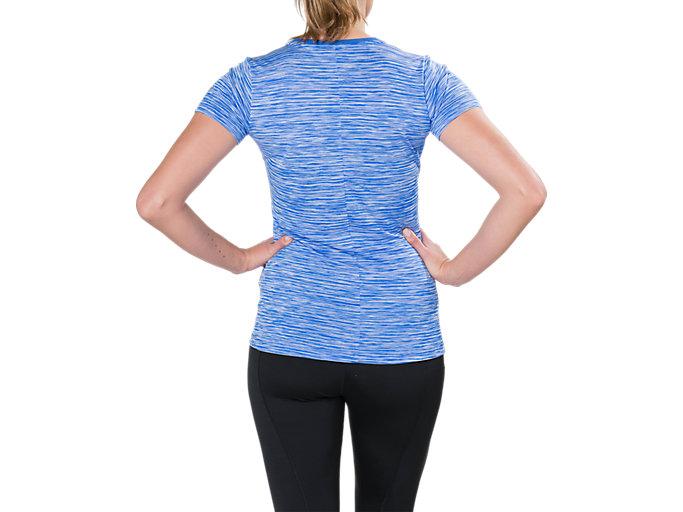 Back view of Camiseta de running fuzeX con cuello de pico para mujer, BLUE PURPLE