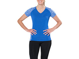 Front Top view of fuzeX V-NECK SS TOP, BLUE PURPLE