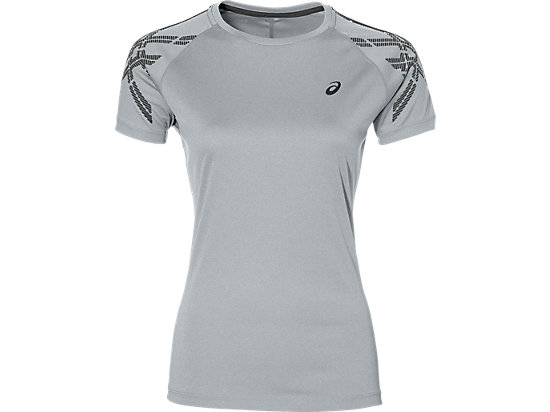 CAMISETA DE RUNNING CON FRANJAS ASICS PARA MUJER, Mid Grey Heather