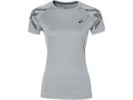 ASICS STRIPE SS TOP, Mid Grey Heather