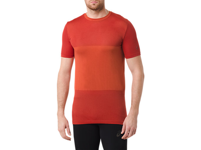 Front Top view of fuzeX SEAMLESS SHORT SLEEVE TOP, RED CLAY