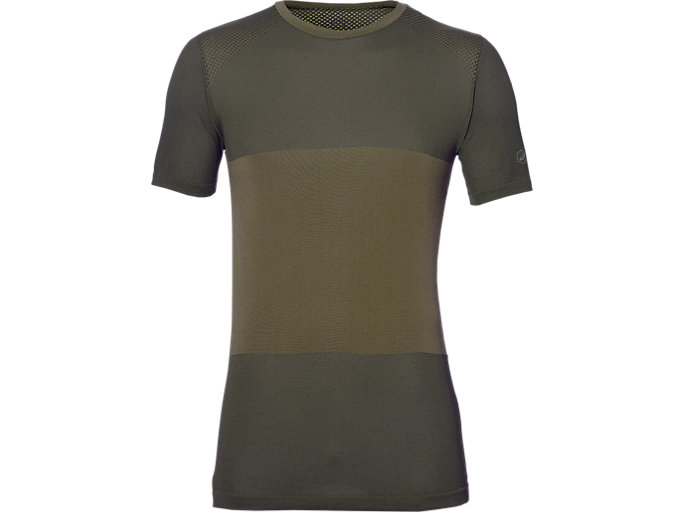Front Top view of Camiseta de running sin costuras fuzeX para hombre, MARTINI OLIVE