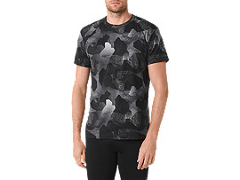 Front Top view of fuzeX PRINTED SS TEE, CAMO GEO PERFORMANCE BLACK