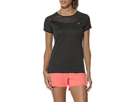 Front Top view of ELITE SS TEE, PERFORMANCE BLACK