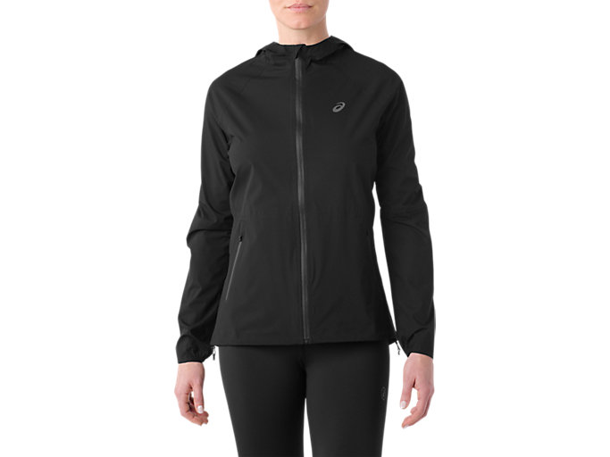 Front Top view of WATERPROOF JACKET, PERFORMANCE BLACK