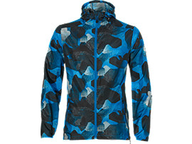 Front Top view of fuzeX PACKABLE JKT, CAMO GEO DIRECTOIRE BLUE