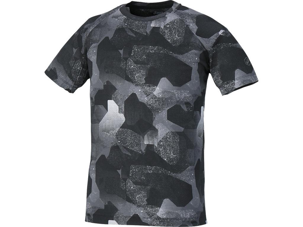 【ASICS/アシックス】 ランニングプリントTシャツ カモフラージュブラック メンズ_142580