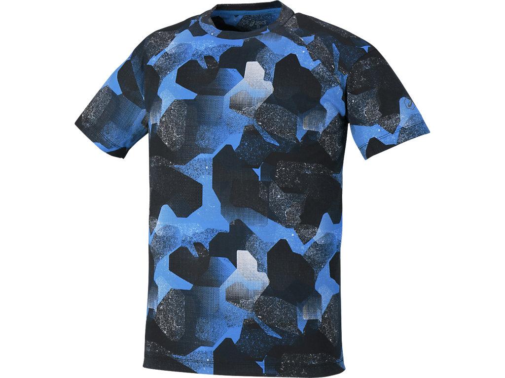 【ASICS/アシックス】 ランニングプリントTシャツ カモフラージュブルー メンズ_142580