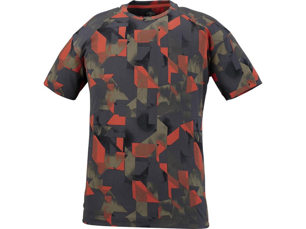 【ASICS/アシックス】 ランニングプリントTシャツ ペイントジオレッドグレー メンズ_142580
