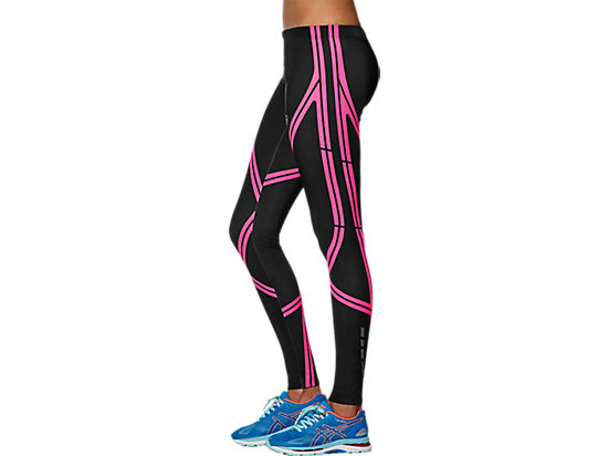 Lauf-Tights stützend für Damen PERFORMANCE BLACK/DIVA PINK 11 LT