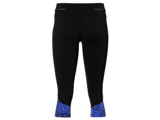 女士运动过膝紧身裤 黑色/蓝色条纹印花