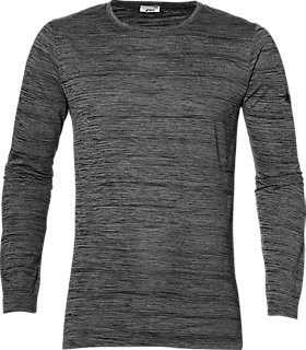 Brushed Long-Sleeved Crew Top | Men | Dark Grey Heather | ASICS NL