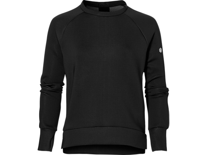 Front Top view of CREW NECK PULLOVER, PERFORMANCE BLACK