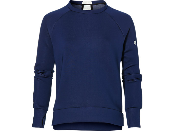 Front Top view of CREW NECK PULLOVER, INDIGO BLUE