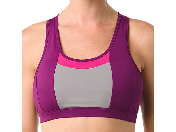 Alternative image view of COLOR BLOCK BRA, PRUNE