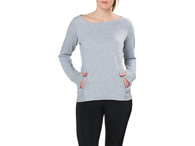 Front Top view of FUZEX CREW TOP, MID GREY HEATHER
