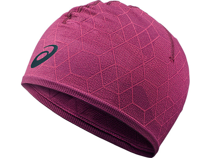 Front Top view of BEANIE GRAPHIC, PRUNE