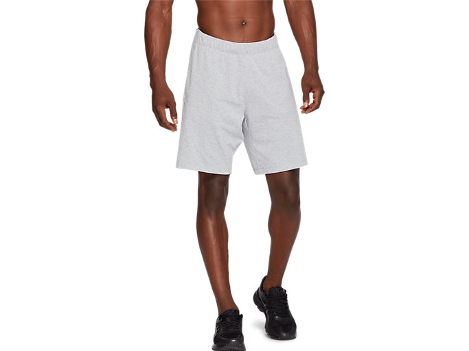 Front Top view of SPORT TRAINING SHORT, HEATHER GREY