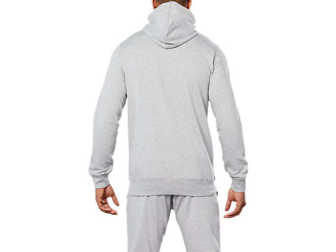 Back view of SPORT KNIT HOOD, HEATHER GREY
