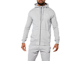 Front Top view of SPORT KNIT HOOD, HEATHER GREY