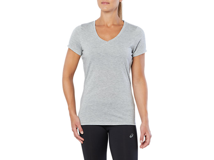 Front Top view of SPORT TRAIN TOP, HEATHER GREY
