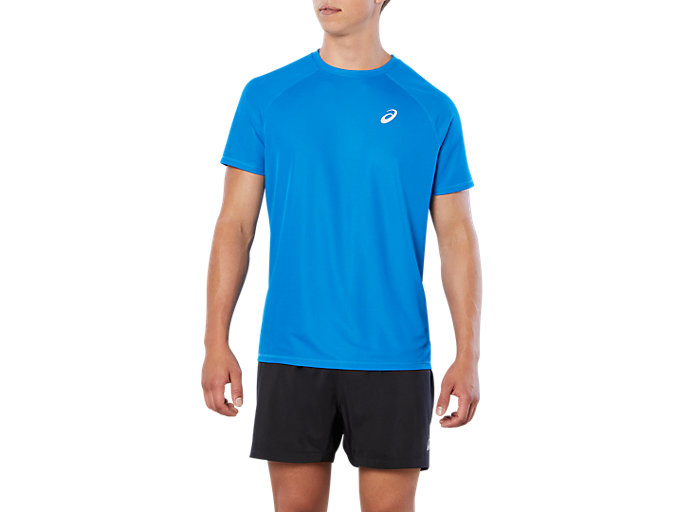 Front Top view of SPORT RUN TOP, DIRECTOIRE BLUE